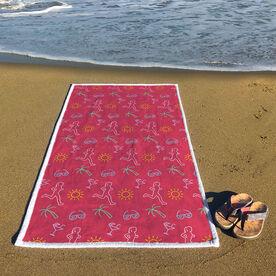 Running Premium Beach Towel - Tropical Female Runner
