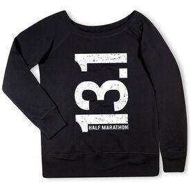 Running Fleece Wide Neck Sweatshirt - 13.1 Half Marathon Vertical