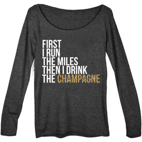Women's Runner Scoop Neck Long Sleeve Tee - Then I Drink The Champagne
