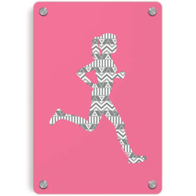 Running Metal Wall Art Panel - Runner Girl Aztec Pattern