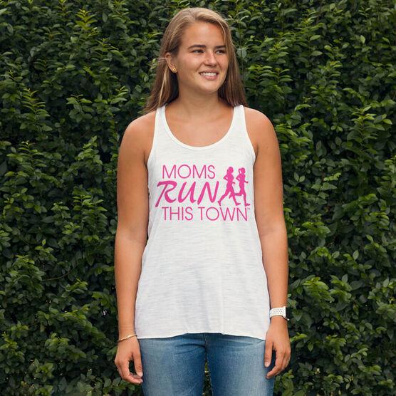 Flowy Racerback Tank Top - Moms Run This Town Logo (Pink)