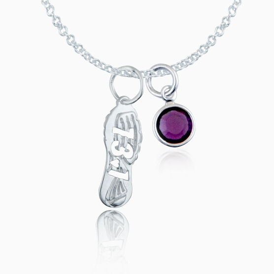 Sterling Silver 13.1 Shoe Tread Necklace