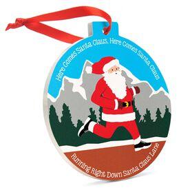 Running Round Ceramic Ornament - Here Comes Santa Claus