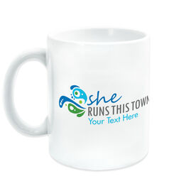 Running Coffee Mug - She Runs This Town Logo