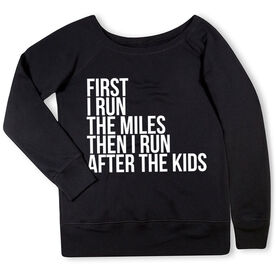 Running Fleece Wide Neck Sweatshirt - Then I Run After The Kids