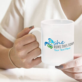 Running Coffee Mug - She Runs This Town Logo