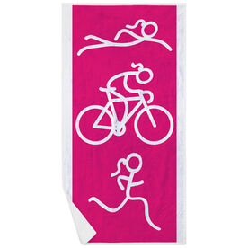 Triathlon Premium Beach Towel - Swim Bike Run Girl Figure