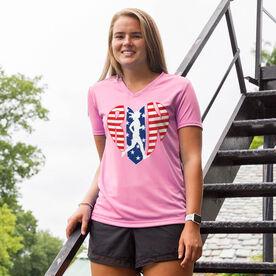 Women's Running Short Sleeve Tech Tee - Patriotic Heart