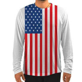 Men's Running Customized Long Sleeve Tech Tee American Flag