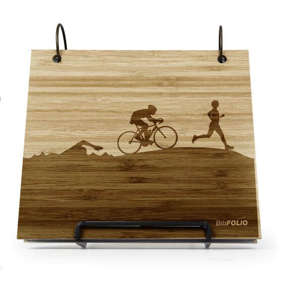 Engraved Bamboo Wood BibFOLIO® Race Bib Album - Triathlon