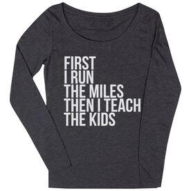 Women's Runner Scoop Neck Long Sleeve Tee - Then I Teach The Kids