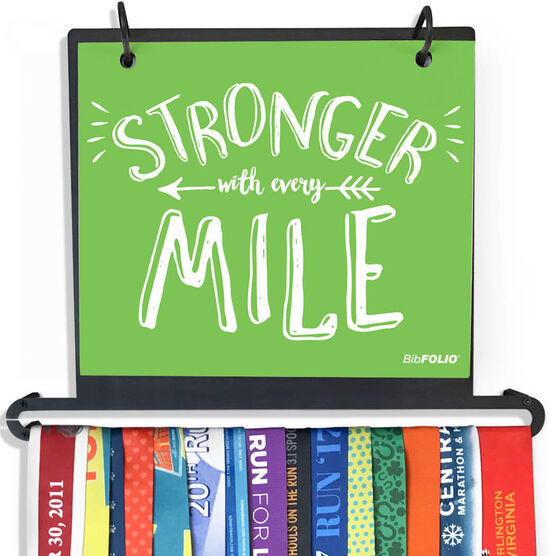 BibFOLIO+™ Race Bib and Medal Display - Stronger With Every Mile (Chalkboard)