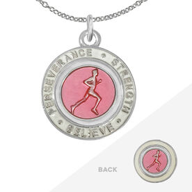 Runner's Creed Pendant Necklace - 2.3cm Pink/White