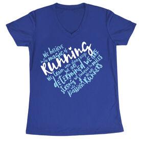 Women's Running Short Sleeve Tech Tee - Live Love Run Heart