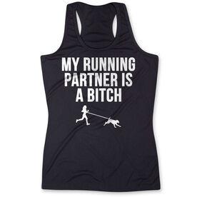 Women's Performance Tank Top - My Running Partner Is A Bitch (Bold)