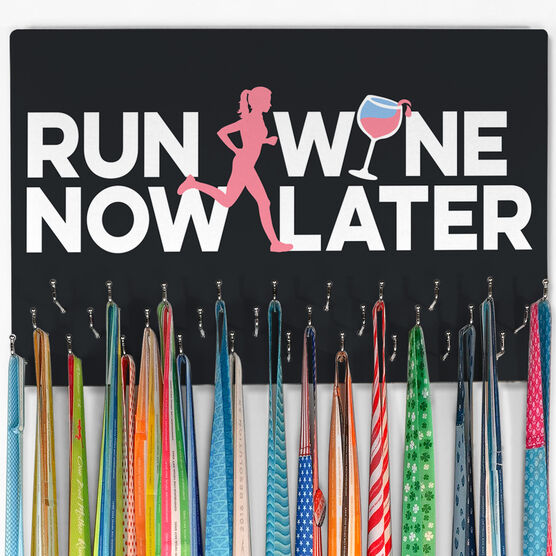 Running Large Hooked on Medals Hanger - Run Now Wine Later