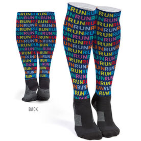 Running Printed Knee-High Socks - Run Pattern