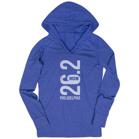 Women's Running Lightweight Performance Hoodie - Philadelphia 26.2 Vertical