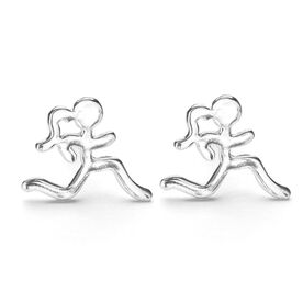 Sterling Silver Mini Running Stick Figure Post Earrings
