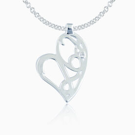 Sterling Silver 26.2 Marathon Heart Pendant with Cubic Zirconia Stone Necklace