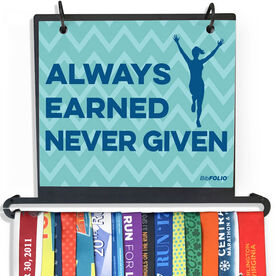 BibFOLIO Plus Race Bib and Medal Display - Always Earned Never Given