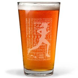 Running Inspiration - Female 20oz Beer Pint Glass