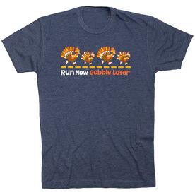 Running Short Sleeve T-Shirt -  Run Now Gobble Later Turkeys