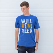 Running Short Sleeve T- Shirt - Will Run For Beer