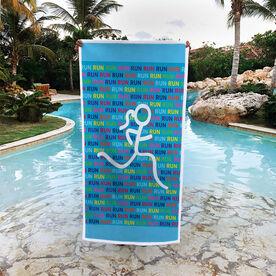 Running Premium Beach Towel - Run Run Run Figure Girl