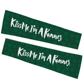 Running Printed Arm Sleeves - Kiss Me I'm A Runner