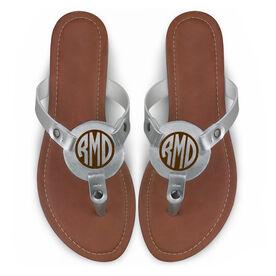Personalized Engraved Thong Sandal Circle Monogram