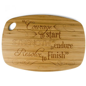 Rectangle Laser Engraved Bamboo Cutting Board Courage To Start (Chalkboard Style)