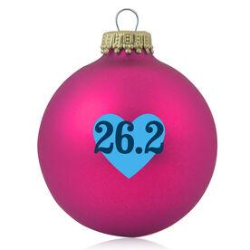 Running Glass Ornament Heart 26.2
