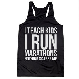Women's Racerback Performance Tank Top - I Teach Kids I Run Marathons