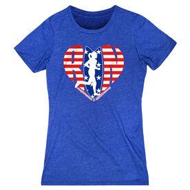 Women's Everyday Runners Tee - Moms Run This Town Patriotic Heart