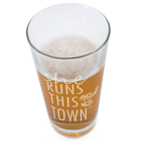 Running 20 oz Beer Pint Glass - She Runs This Town Stacked