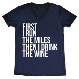 Women's Running Short Sleeve Tech Tee - Then I Drink The Wine