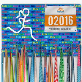 Hooked On Medals Bib & Medal Display Run Run Run Girl Figure