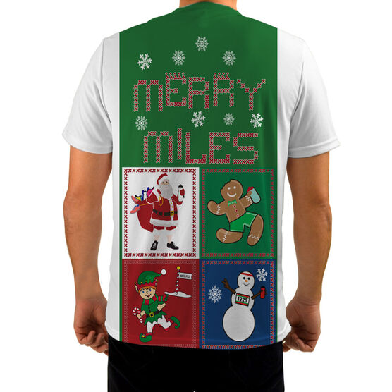 Men's Running Customized Short Sleeve Tech Tee Santa Gingerbread Man Snowman Runners