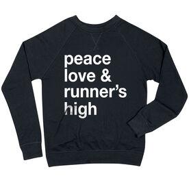 Running Raglan Crew Neck Sweatshirt - Peace Love & Runner's High