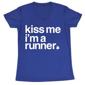 Women's Running Short Sleeve Tech Tee - Kiss Me I am a Runner Saying