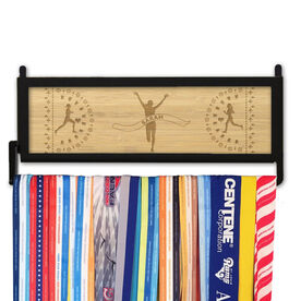 RunnersWALL Engraved Bamboo Medal Display Finish Line Female