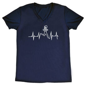 Womens Running Short Sleeve Tech Tee Heart Beat Female Runner