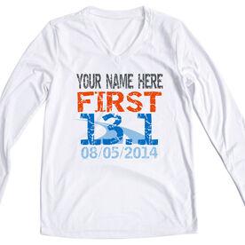 Women's Customized White Long Sleeve Tech Tee First Half Marathon (Distressed)