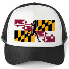 Running Trucker Hat - Maryland Flag Female Runner