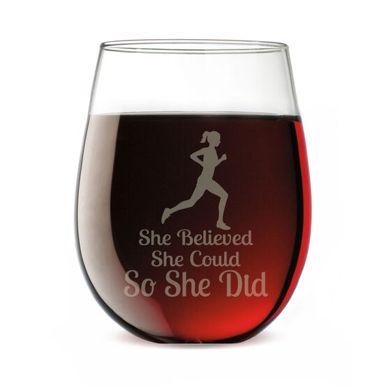 Running Stemless Wine Glass She Believed She Could So She Did (Silhouette)