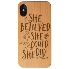 Running Engraved Wood IPhone® Case - She Believed She Could So She Did