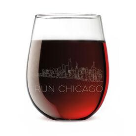 Running Stemless Wine Glass - Chicago Sketch