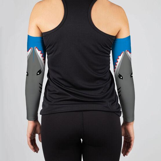 Running Printed Arm Sleeves - Shark Attack