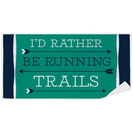 Running Premium Beach Towel - I'd Rather Be Running Trails